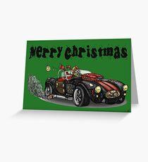 Steampunk Cobra Style Christmas car Greeting Card