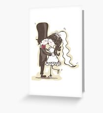 Bride and Groom Kiss Greeting Card