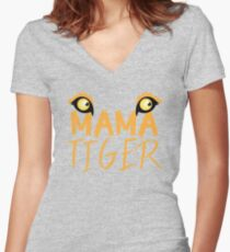 MAMA TIGER (with a matching Baby Tiger and Papa Tiger) Women's Fitted V-Neck T-Shirt
