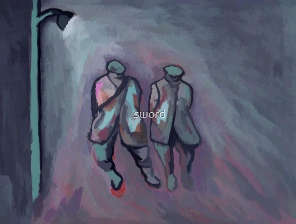 Foggy night ( from my original acrylic painting digitally enhanced) by sword
