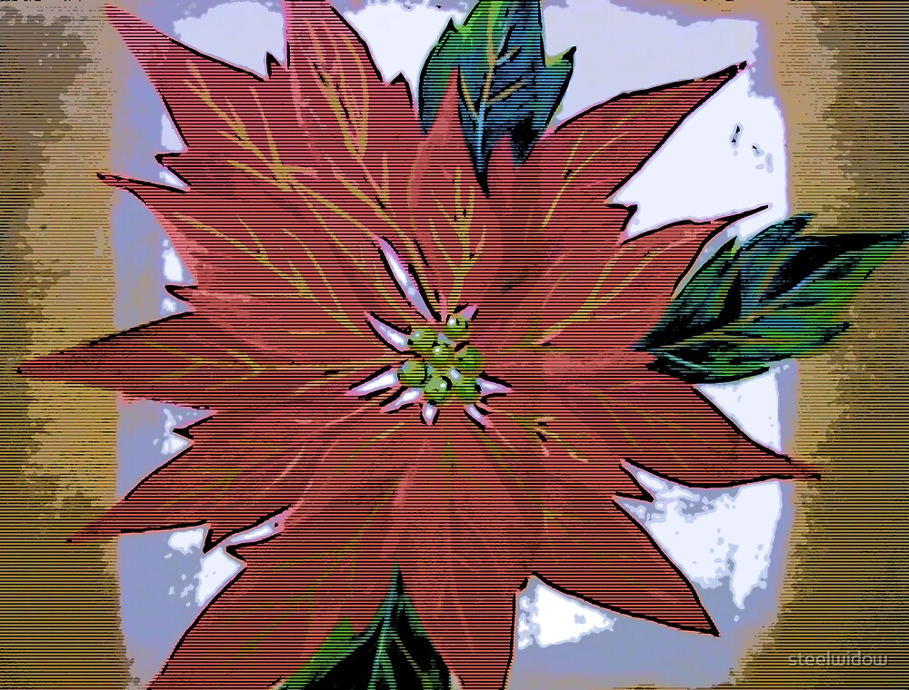 Comic Abstract Holiday Poinsetta by steelwidow