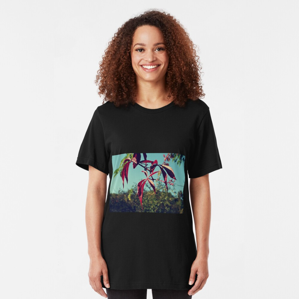 Red leaves Slim Fit T-Shirt