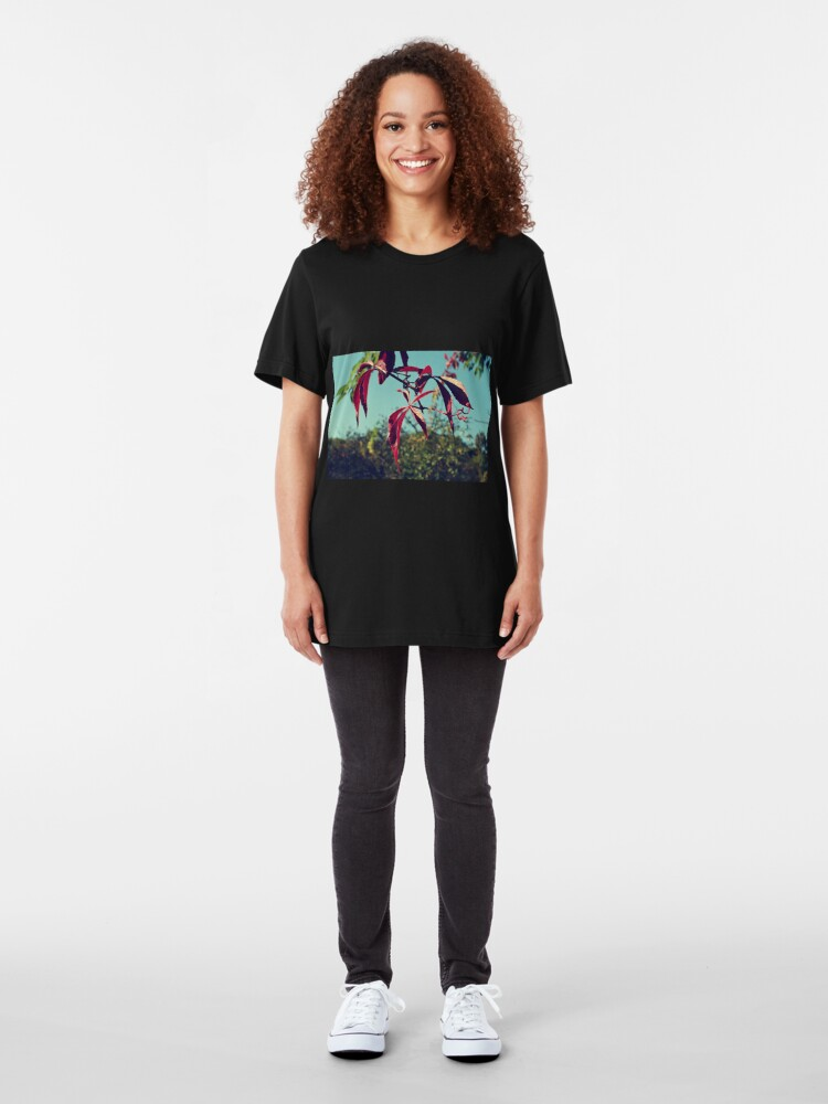 Alternate view of Red leaves Slim Fit T-Shirt