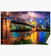 Colorful Cincinnati Skyline Cityscape Poster