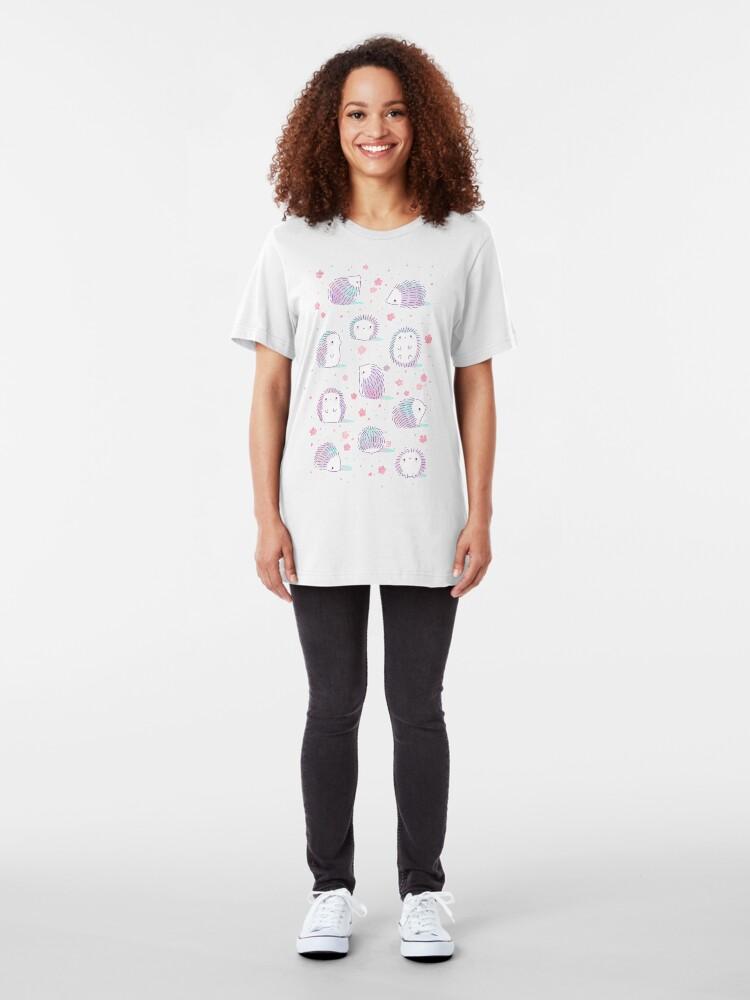 Alternate view of Spring Hedgehog Pattern Slim Fit T-Shirt