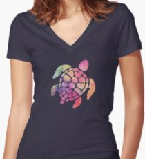 Watercolor Sea Turtle Women's Fitted V-Neck T-Shirt