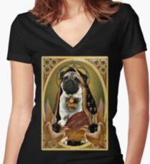 Camiseta entallada de cuello en V santo cervatillo