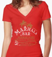 Marhala Bar - Indiana Jones Hookah Gold Joint Women's Fitted V-Neck T-Shirt