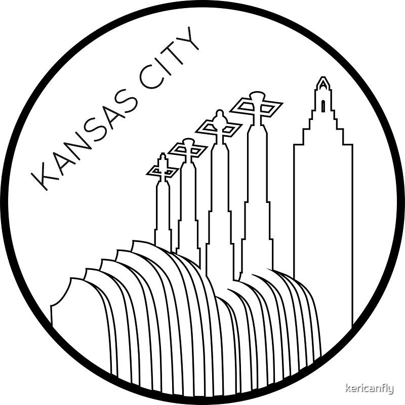 Line Art Ks : Quot kansas city minimalist line art circle stickers by