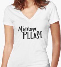 DEF Atelier - Hand Lettering - Mimosa Please - Bachelorette Women's Fitted V-Neck T-Shirt