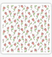 Simple tulip retro pattern. Hand drawn flower background. Sticker