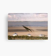 Breakwaters on a beach Metal Print