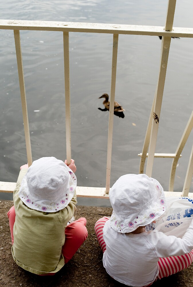 Grandchildren and duck by JimWhitham