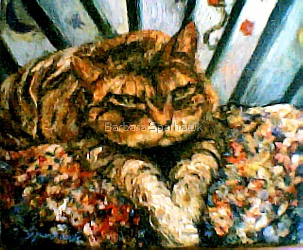 Astrid On Her Painted Bench by Barbara Sparhawk