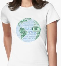 Protect Earth - Blue Green Words for Earth Women's Fitted T-Shirt