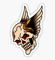 American Traditional Winged Skull Sticker