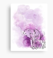 Elephant mother and baby Canvas Print