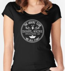 The Losers' Club Emblem - White Text Women's Fitted Scoop T-Shirt