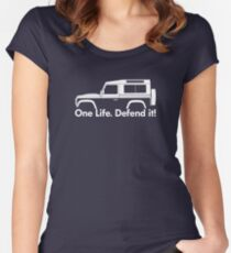 One Life.Defend it! - for Land Rover 90 Defender wagon enthusiasts (version with hood / bonnet bulge) Women's Fitted Scoop T-Shirt