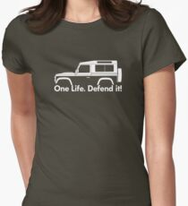 One Life.Defend it! - for Land Rover 90 Defender wagon enthusiasts (version with hood / bonnet bulge) T-Shirt