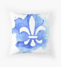 Watercolor Fleur De Lis Throw Pillow