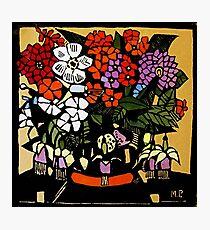 "Margaret Preston Australian Woodcut ""Fuchsia"" Photographic Print"
