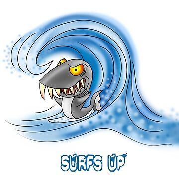 SURFS UP SURFER SHARK by squigglemonkey