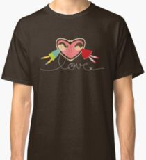 Valentine Heart Cartoon Boy Loves Girl Classic T-Shirt