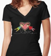Valentine Heart Cartoon Boy Loves Girl Women's Fitted V-Neck T-Shirt