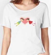 Valentine Heart Cartoon Boy Loves Girl Women's Relaxed Fit T-Shirt