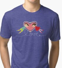 Valentine Heart Cartoon Boy Loves Girl Tri-blend T-Shirt