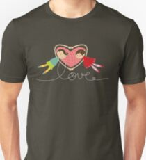 Valentine Heart Cartoon Boy Loves Girl Unisex T-Shirt