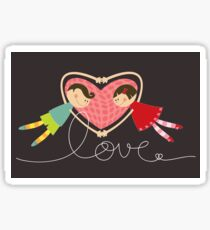 Valentine Heart Cartoon Boy Loves Girl Sticker