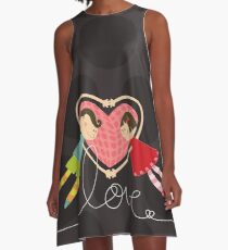 Valentine Heart Cartoon Boy Loves Girl A-Line Dress