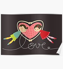 Valentine Heart Cartoon Boy Loves Girl Poster