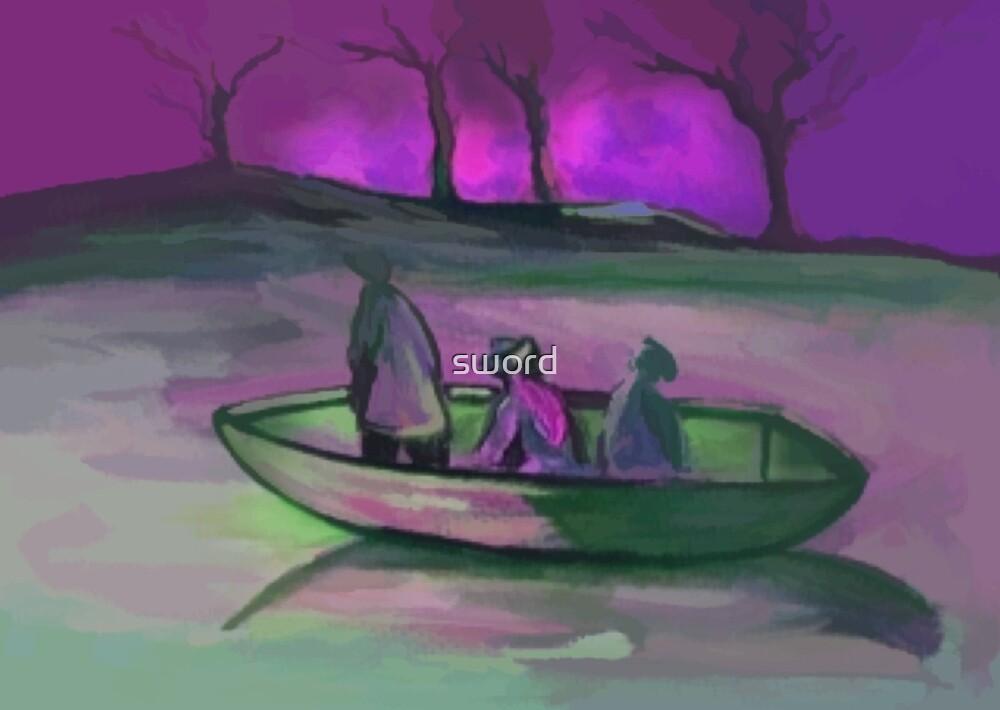 3 men in a boat  by sword
