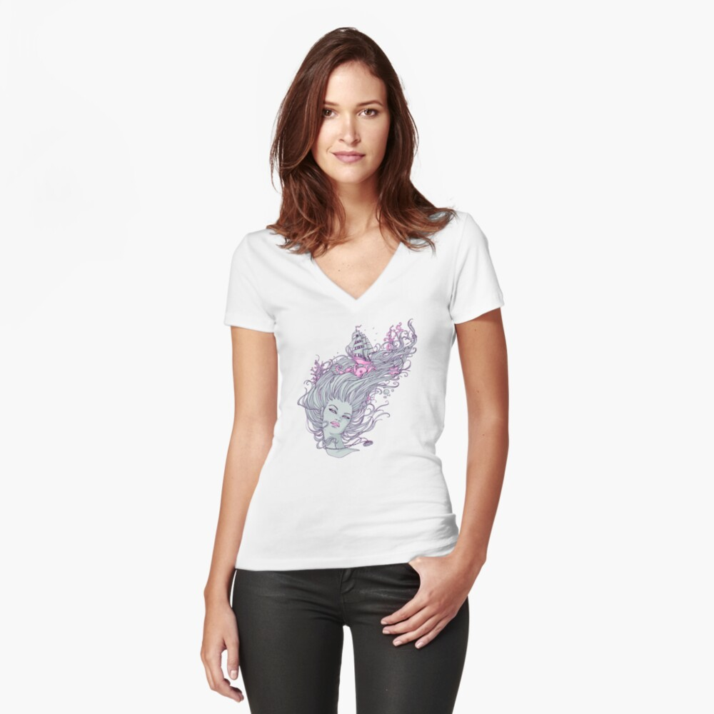 I Long for the Freedom of the Sea Women's Fitted V-Neck T-Shirt Front