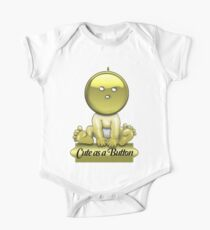 Funny Cute as a Button Baby T Shirt Kids Clothes