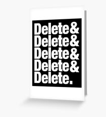 Delete Helvetica List Greeting Card