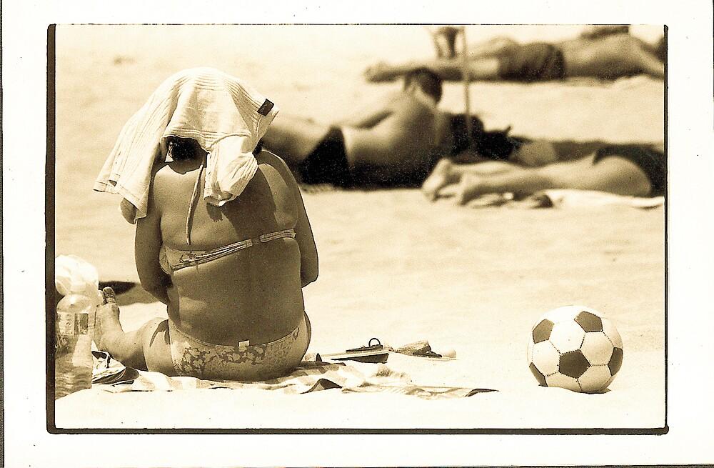 Lady on beach, Portugal, 1998 by Melinda Kerr