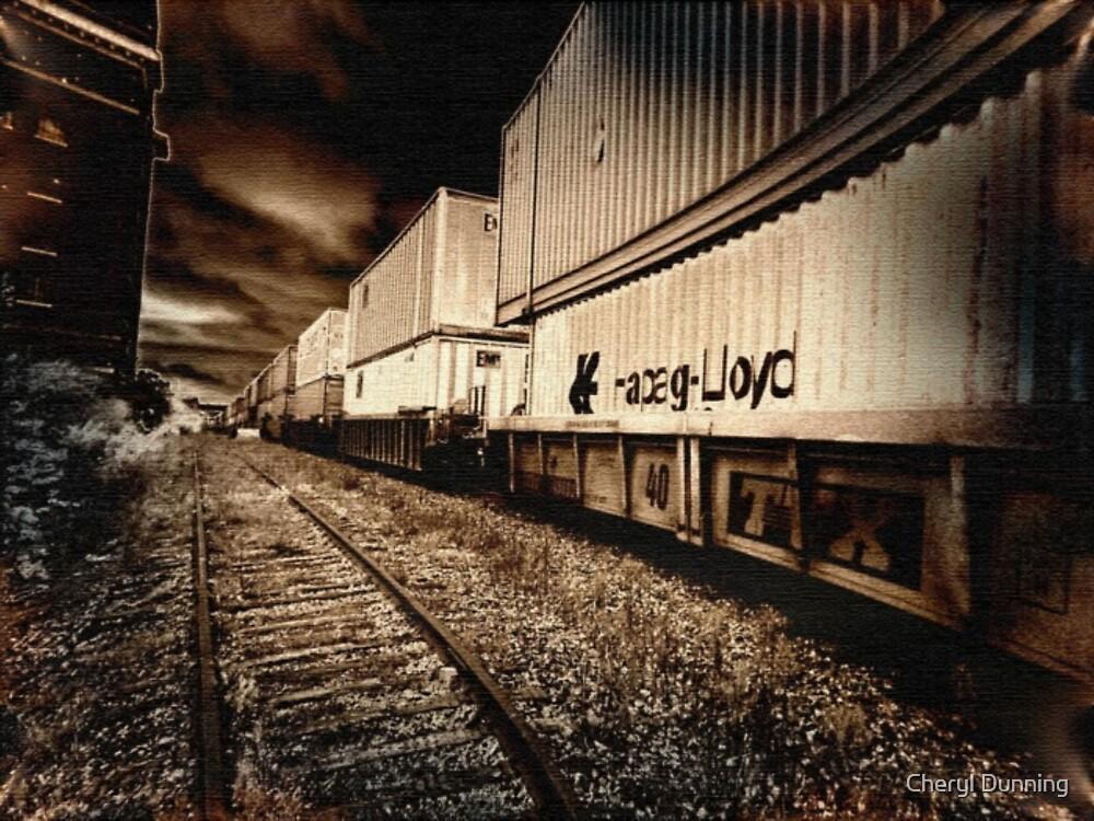 dark train coming by Cheryl Dunning