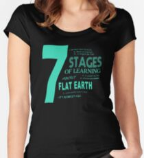 Flat Earth Designs - 7 Stages of Learning About Flat Earth Women's Fitted Scoop T-Shirt