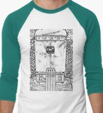 John Deere Tractor Black and White Chrome Photo Design Men's Baseball ¾ T-Shirt