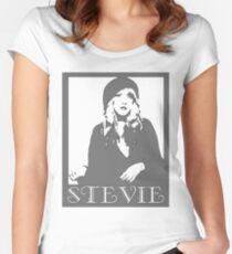 STEVIE NICKS GRAYSCALE Women's Fitted Scoop T-Shirt