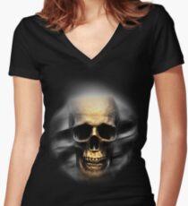 skull in the dark  Women's Fitted V-Neck T-Shirt