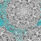 Turquoise & White Mandalas on Grey  by micklyn
