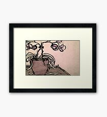 Charcoal Orchids Framed Print
