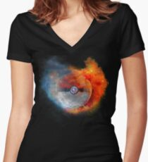 Pokemon water vs fire Women's Fitted V-Neck T-Shirt
