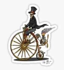 STEAMPUNK PENNY FARTHING BICYCLE (BLACK AND WHITE) Sticker