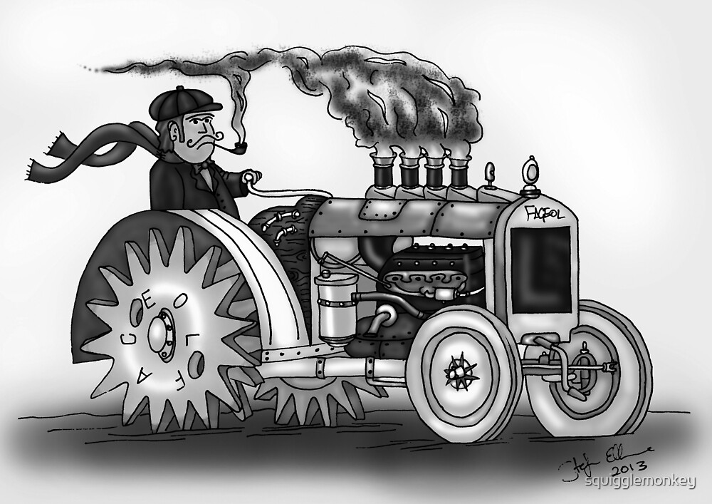 VINTAGE STEAMPUNK TRACTOR (BLACK AND WHITE) by squigglemonkey